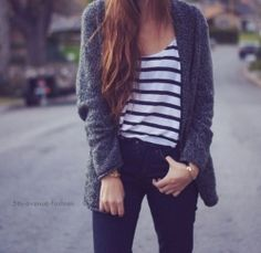 t-shirt and jeans, outfit, cardigan, style, skinny jeans, hair, stripes, brunette