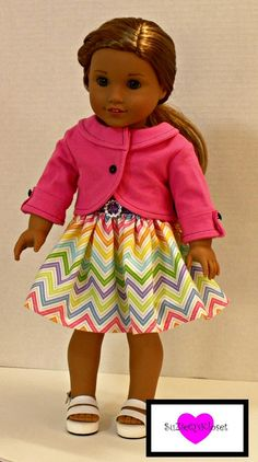 18 inch Doll Clothes, Penny lane cropped jacket for 18 inch dolls American Girl Crafts, American Doll Clothes, American Girls, Doll Clothes Patterns, Doll Patterns, Clothing Patterns, Sewing Patterns, Ag Dolls, Girl Dolls