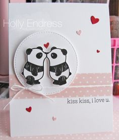 Hollybeary Creations || #mamaelephant, Mama Elephant Pandamonium, Confetti Heart die, Love card, Hand Stamped