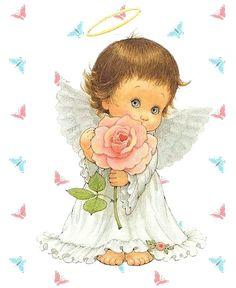 Angelito con aureola y rosa en las manos