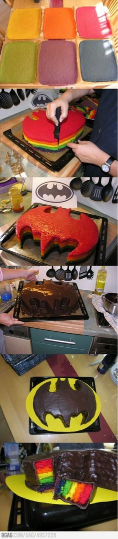Batman Cake. instead of rainbow do a chocolate and yellow cake... so its black and yellow Batman Party, Cake Cookies, Cupcake Cakes, Batman Cupcake Cake, Easy Batman Cake, Batman Cake Pops, Tolle Kuchen, Batman Cakes, Batman Birthday Cakes