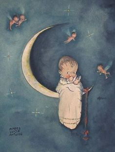 Vintage Illustration by Mabel Lucie Attwell . Vintage Moon, Vintage Cards, Vintage Postcards, Kewpie, You Are My Moon, Illustrations Vintage, Good Night Moon, Beautiful Moon, Fairy Art
