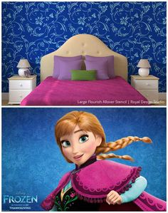 girl bedrooms inspired by disney s frozen, bedroom ideas, home decor, painting, Large Flourish Allover Stencil Wallpaper Stencil, Damask Stencil, Stencil Patterns, Stencil Diy, Frozen Room Decor, Frozen Bedroom, Baby Room Decor, Disney Girls Room, Disney Bedrooms