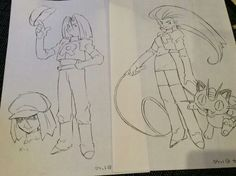 Ken Sugimori's concept art for Team Rocket. Ken was the original designer for characters and the 151 pokemon.