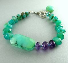 Peruvian Opal and Amethyst Bracelet  Tahitian by SurfAndSand, $189.00