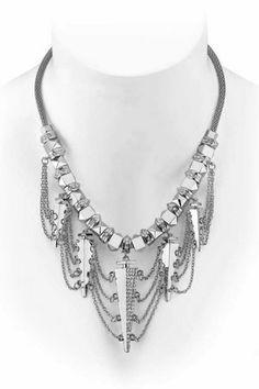 Belle Noel by Kim Kardashian Palladium Glam Rock Webbed Necklace