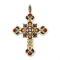 LUCIEN FALIZE. AN ENAMEL AND DIAMOND CROSS PENDANT Designed as a yellow gold stylised Latin cross fleurée, applied with a cream coloured champlevé enamel background, embellished with stylised floral and foliate designs in blue, red, green, blue and yellow basse-taille enamel, the centre set with a collet-set rose-cut diamond, each axis crossing point accented with a silver fleur-de-Lys motif set with rose-cut diamonds, to a similarly-designed bail, late 19th Century. Attributed to Lucien… Enamel Jewelry, Antique Jewelry, Vintage Jewelry, Fine Jewelry, Jewelry Art, Religious Cross, Religious Jewelry, Christian Symbols, Holy Cross