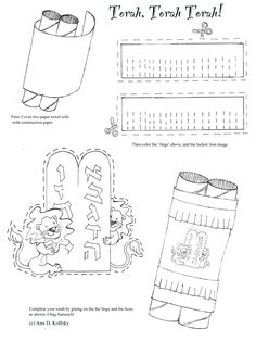 This simple model Torah craft for younger students uses just two paper towels tubes and two sheets of paper. Making the fringe for the Torah is a great way for kids to practice their scissor skills! 6th Grade Worksheets, Worksheets For Kids, Coloring Worksheets, Printable Worksheets, Simchat Torah, Feast Of Tabernacles, Jewish Festivals, Jewish Crafts, Hebrew School