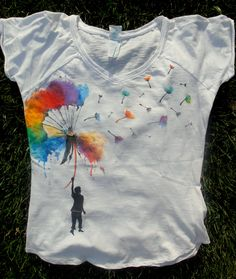 Multicolor Dandelion! _ Hand-painted t-shirt by TonT-shirt