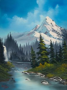 Cascading Falls Painting by Bob Ross - so nice and probably part of Bob's memories of his lovely Alaska - web - MReno