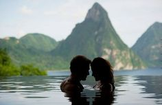 10) The honeymoon location - JADE MOUNTAIN Soufrière, St. Lucia  The setting of this stunning boutique resort, 600 feet above St. Lucia's rugged southwest coast, isn't just dramatic: It's a literal cliff-hanger. Architect/owner Nick Troubetzkoy and wife Karolin carved the hideaway from the bluff with unimpeded views of the iconic twin Pitons, St. Lucia's UNESCO World Heritage site.