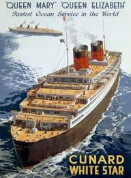 Vintage Cunard White Star Ocean Liner Poster!