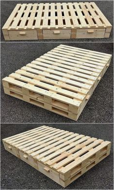 22 amazing recycled pallet bed frame ideas to make it yourself 14 Pallet Bedframe, Diy Pallet Bed, Wooden Pallet Projects, Wooden Pallet Furniture, Wooden Pallets, Pallet Ideas, Pallet Wood, Pallet Frames, Pallet Chest