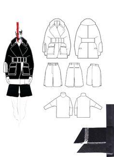 Fashion Sketchbook - technical fashion drawings & fabric layout; fashion illustration; fashion portfolio // Andrew Voss