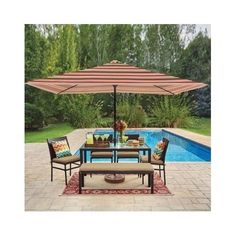 Patio Umbrella Deck Garden Outdoor Crank Canopy Shelter Cover Shade Table Metal  #Brylanehome