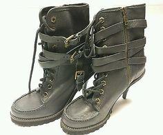 ASH Women's Winona Lug BOOT Spike Heel Black Size 7.5 US 38 EU