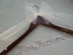 Bridal Hanger with Ivory Bow, Personalized Wedding Dress Hanger, Wedding Hanger, Bridesmaid Gift, Bridesmaid Hanger, Wedding Hanger