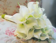 Wedding Bouquet Cream Calla Lily Real Touch Bridal by KateSaidYes