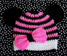 Crochet Disney Minnie Mouse Hat with bow and ears  by lincsoflove, $23.75