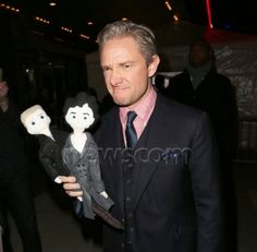Martin with the John and Sherlock dolls <3