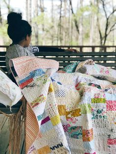 READY TO SHIP ********************************************** Grandma cozy meets modern flair with natural ingredients, handmade in America. When life hands you too many tiny scraps of fabric, make a quilt! These are all bits of fabric Ive collected over the past year and have