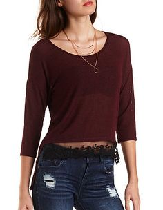 High-Low Ribbed Top with Lace: Charlotte Russe