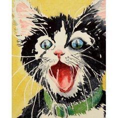 Cat Art, Black Cat Art, Painting Watercolor Print, Tuxedo Cat Art, Black Cat Painting, Pet Portrait, Nursery Art - Artist Artwork. $20.00, via Etsy.