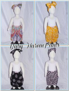 Baby Harem Pants! Cute and comfortable with elastic waist and cuffs. Available in limited quantities of pictured prints, but can be customised in your choice of colours and prints. Sizes 000 - 4 and just $25! Matching head wraps are also available for just $10! Contact kerry@beanieboo.com.au to discuss options or order from the website www.beanieboo.com.au