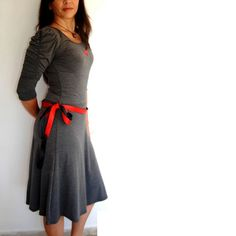 Long Grey Dress, 3/4 Long Sleeves, Charcoal Dress, Feminine Knee Length With Sexy Figure