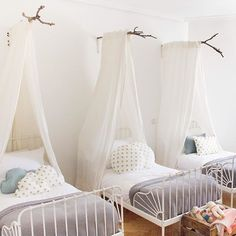 Adorable shared kids room, shared girls bedroom with three beds Girls Bedroom, Bedroom Decor, Ikea Girls Room, Bedroom Ideas, Triplets Bedroom, Nursery Ideas, Ikea Kids Bedroom, Kids Room Curtains, Master Bedroom