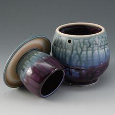 Pottery French Butter Dish Teal Purple Porcelain by par MarkHudak