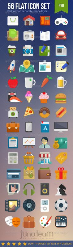 Flat Icon Set — Photoshop PSD #rocket #donut • Available here → https://graphicriver.net/item/flat-icon-set/7381281?ref=pxcr