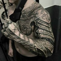 Armour tattoo ideas for men shoulder sleeve and chest You can find Armor tattoo and more on our website.Armour tattoo ideas for men shoulder sleeve and. Girls With Sleeve Tattoos, Cool Tattoos For Guys, Full Sleeve Tattoos, Tattoo Girls, Trendy Tattoos, Girl Tattoos, Armor Sleeve Tattoo, Hand Tattoos For Men, Tattoo Sleeves