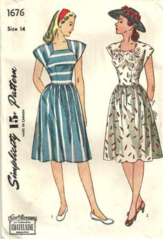 Simplicity 1676 Vintage 40s Sewing Pattern by studioGpatterns, $12.50