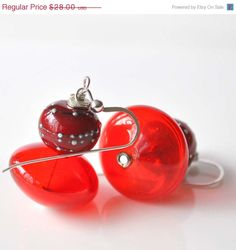Valentine Sale Red Glass Earrings on Sterling Silver by bstrung, $23.80