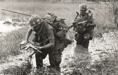 Rice paddy and jungle warfare in Vietnam was horrendously demanding in terms of physical endurance and mental strength. I wonder what happened to the second guy in this photo. Who would send him on a patrol like this?