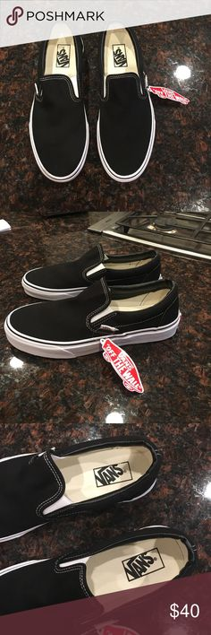 NWT Black Slip-On Vans These vans are NWT and have never been worn. Size 9 Mens, 10.5 Womens. Price firm. Bundle for discounts. Feel free to ask any questions :-) Vans Shoes Sneakers