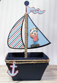 Mickey Mouse Sailor  Boat  Nautical Favor Box by PaperletteDesigns