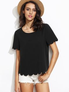c7fea94118c45 ROMWE Womens Tops casual Scallop Hem Short Sleeve cute Blouse Tee shirt  Black M    To view further for this item