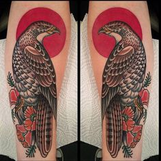 Nice traditional Falcon made by @bryanrandolph #tattoodo