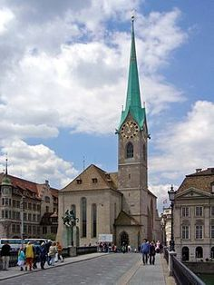 The Fraumünster in Zürich is a pleasant church on the outside. Inside it has exceptionally beautiful stained glass windows by Marc Chagall.