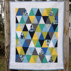 Zoology Triangles Modern Patchwork Baby Crib Quilt / Blanket - READY TO SHIP. $80.00, via Etsy.