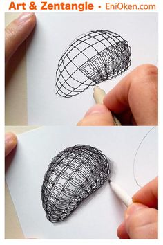 Learn how to transform your grid patterns into through the use of contour lines. Unique Drawings, Beautiful Drawings, Fashion Illustration Sketches, Ink Illustrations, Zentangle Patterns, Zentangles, Ring Sketch, Jewelry Design Drawing, Doodle Art Designs