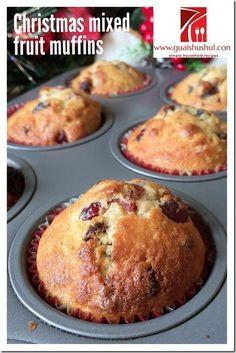 Christmas Muffins or Light Fruit Cake (圣诞马芬) - Guai Shu Shu Donut Muffins, Morning Glory Muffins, Cupcakes, Cupcake Cakes, Fruit Cakes, Pear Recipes, Cake Recipes, Fruit Cake Design, Muffin Tin Recipes