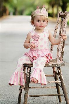 Mustard Pie Clothing - Emma Romper in Pink & Cream