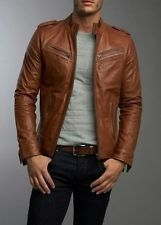 Leather Jacket Men Motorcycle Mens Lambskin Brown Coat Biker XS S M L XL 2XL BN5