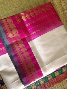 This combination never ceases to attract me ever! Oooooooooooh the color and the saree. Bridal Sari, Bridal Wedding Dresses, Saree Wedding, Kanjivaram Sarees, Kanchipuram Saree, Silk Sarees, Kota Silk Saree, Cotton Saree, Kota Sarees