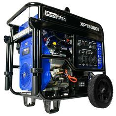 DuroMax 15000-Watt V-Twin Gas Powered Electric Start Portable Generator (Blue - Professional - 7000 Watts or More) Gas Powered Generator, Camping Generator, Portable Generator, Power Generator, Generator Transfer Switch, Rv Outlet, Easy Keys, Fuel Gas, Rv Hacks