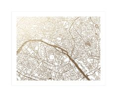 """""""Paris Map"""" - Foil-pressed Art Print by Alex Elko Design in beautiful frame options and a variety of sizes. Quote Prints, Wall Art Prints, Interior Design Chicago, Map Artwork, Paris Map, France Art, Metallic Prints, Foil Art, Foil Stamping"""