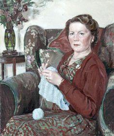 Woman Knitting Mavis Blackburn (1923–2005)